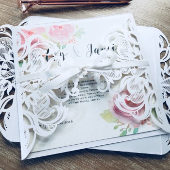 Laser Cut Sample Wedding Invitation with Bow