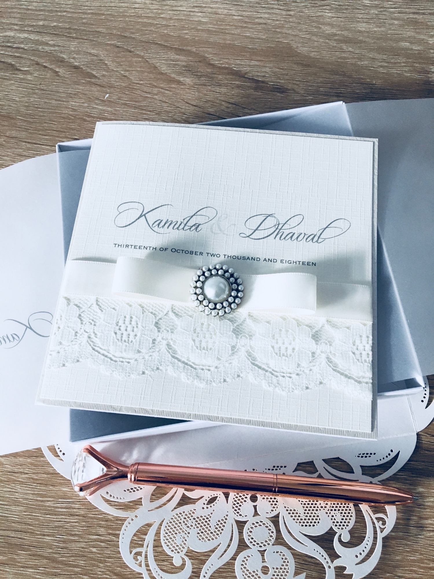 Lace and pearl luxury boxed wedding invitation