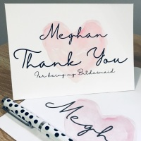 Bridesmaid Personalised Script Thank you Card