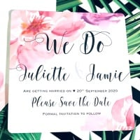 Pink Save the Dates Pack of Ten Personalised We Do Floral Cards