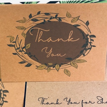 Thank You Wedding Cards Rustic Brown Green Foliage Personalised Pack of 10