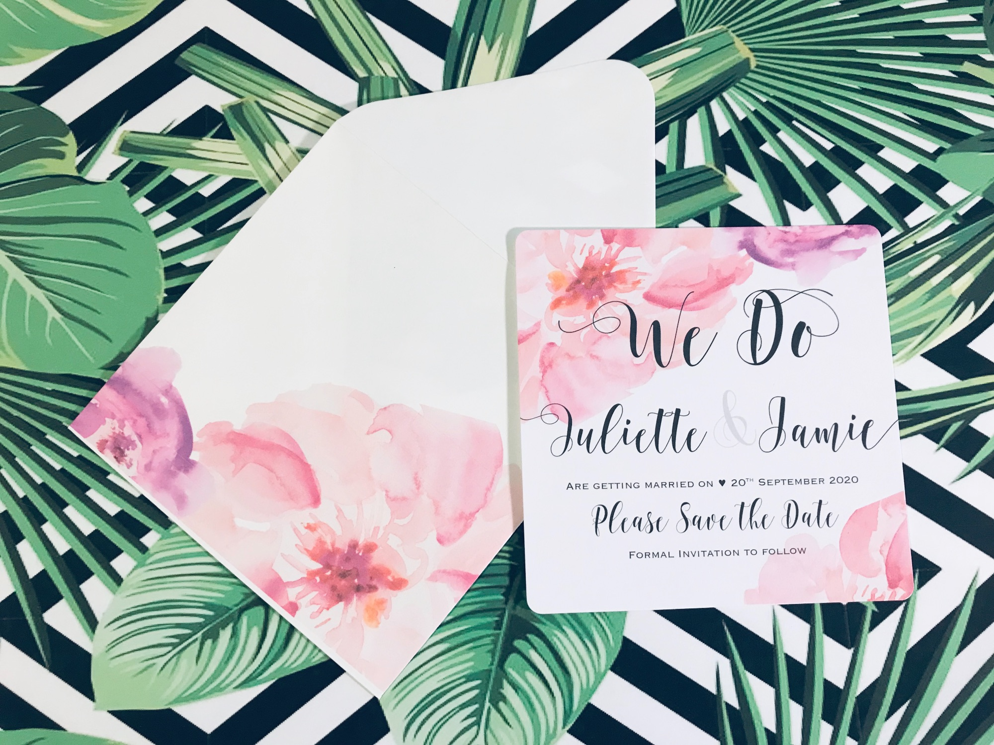 Beautiful floral save the date cards