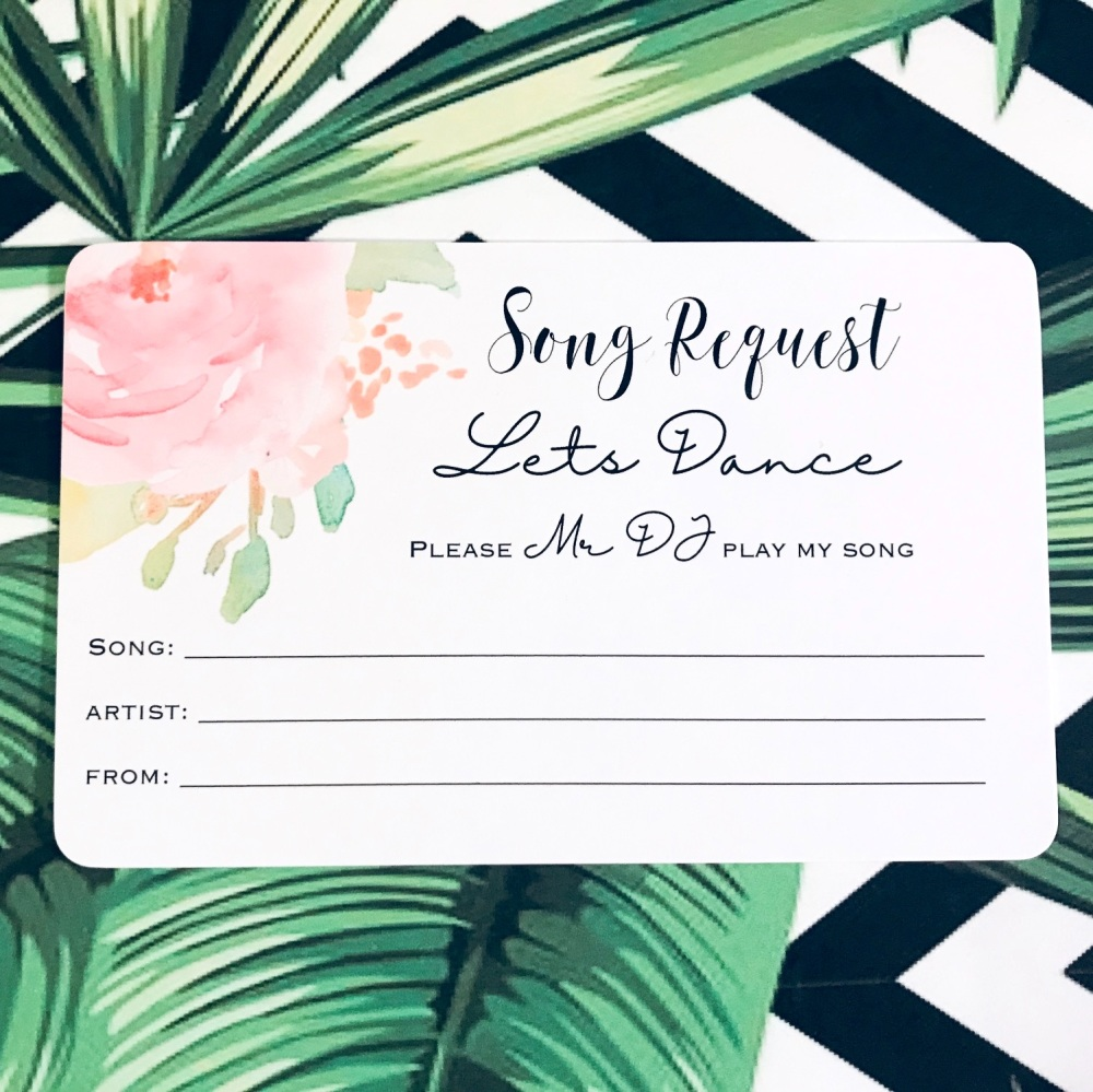 Wedding DJ Song Request Cards Pack of 10 Pink Rose Design