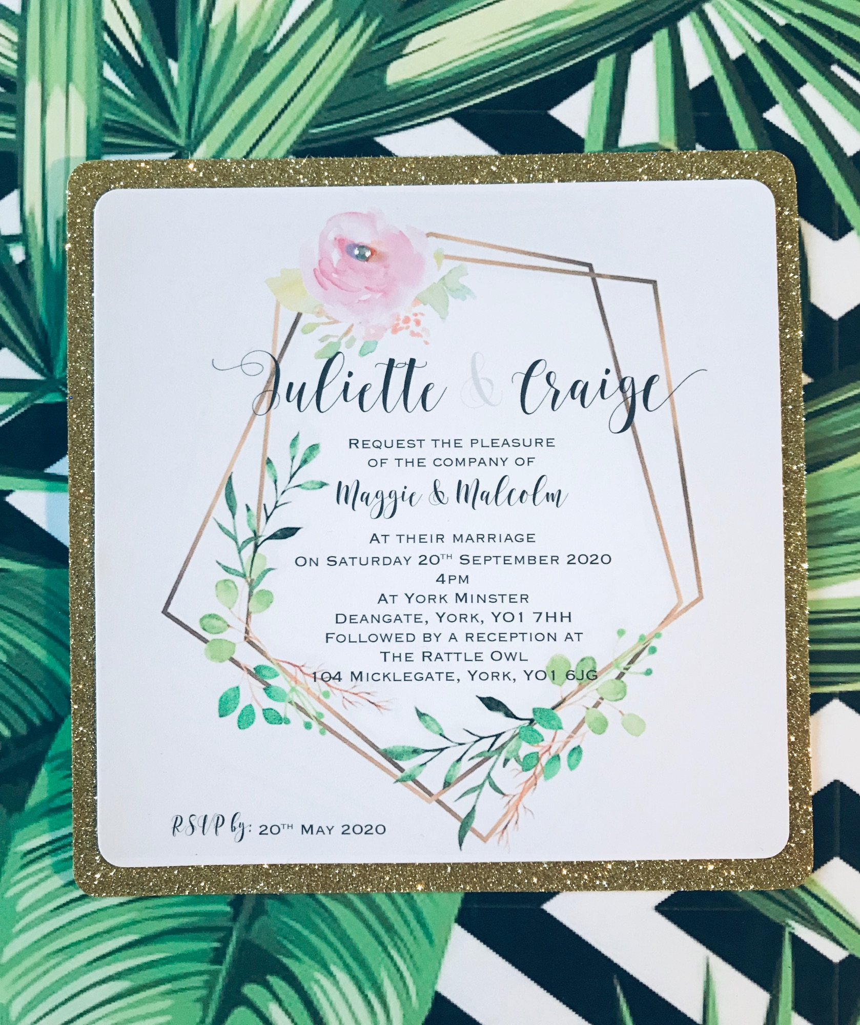Modern gold glitter wedding invitation with modern rose pink border