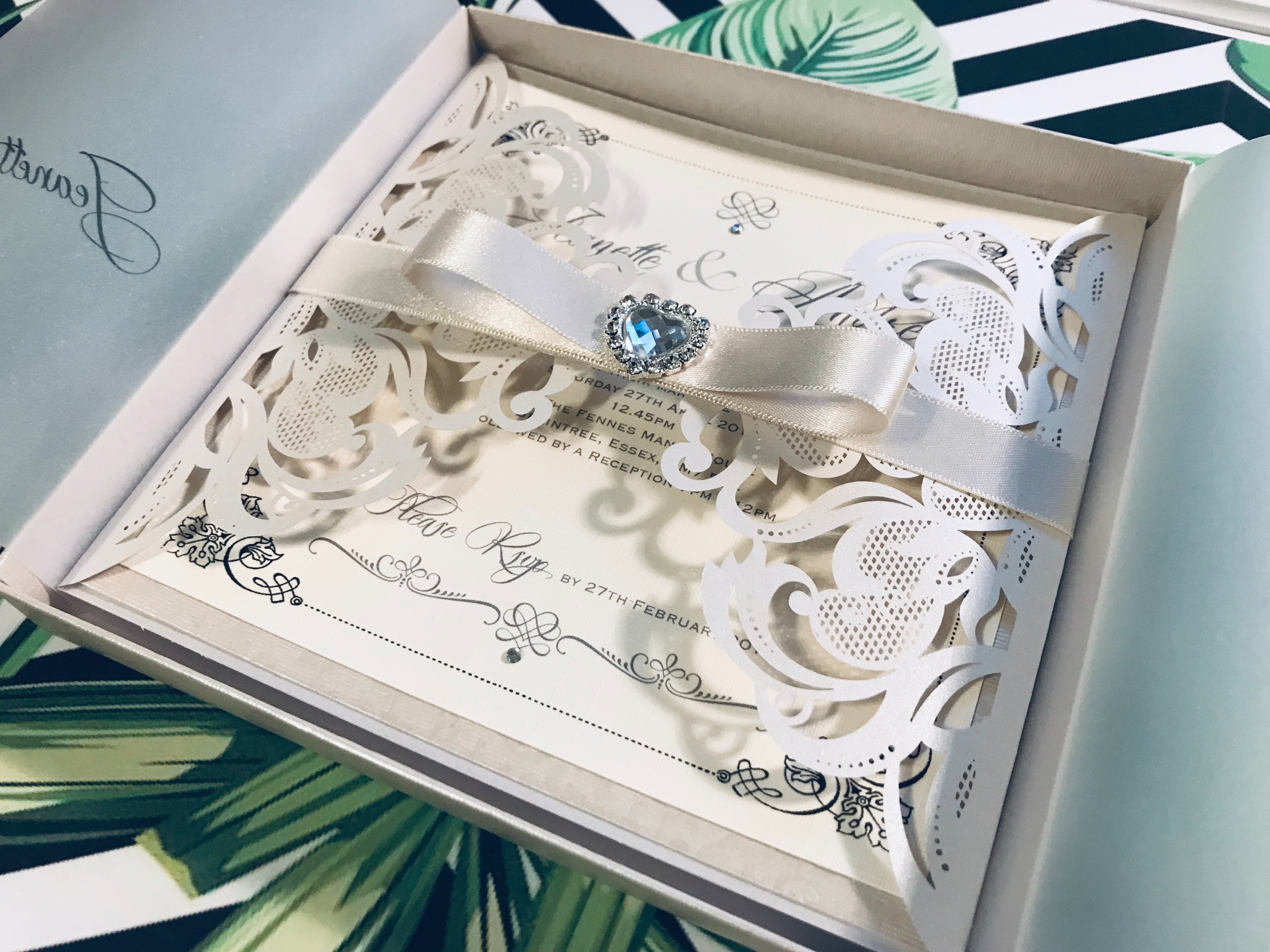 Beautiful laser cut boxed wedding invitations
