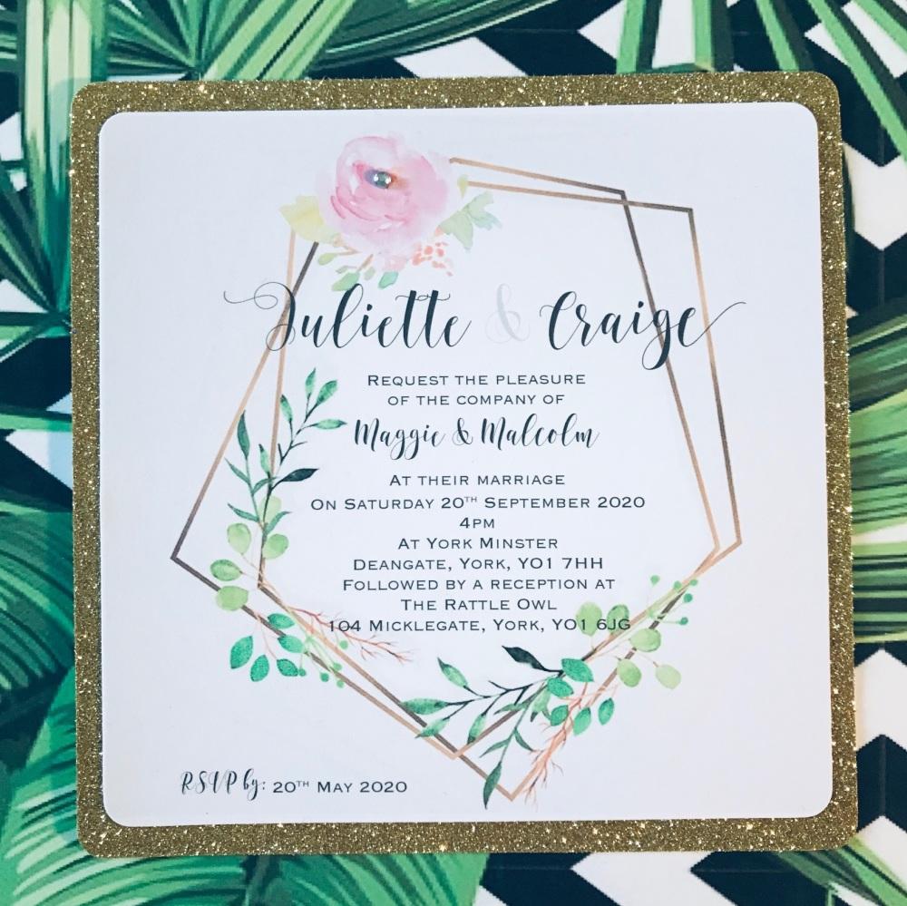 Glitter Wedding Invitation Sample with Modern Wreath