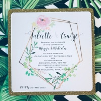 Glitter Wedding Invitation Sample with Modern Wreath