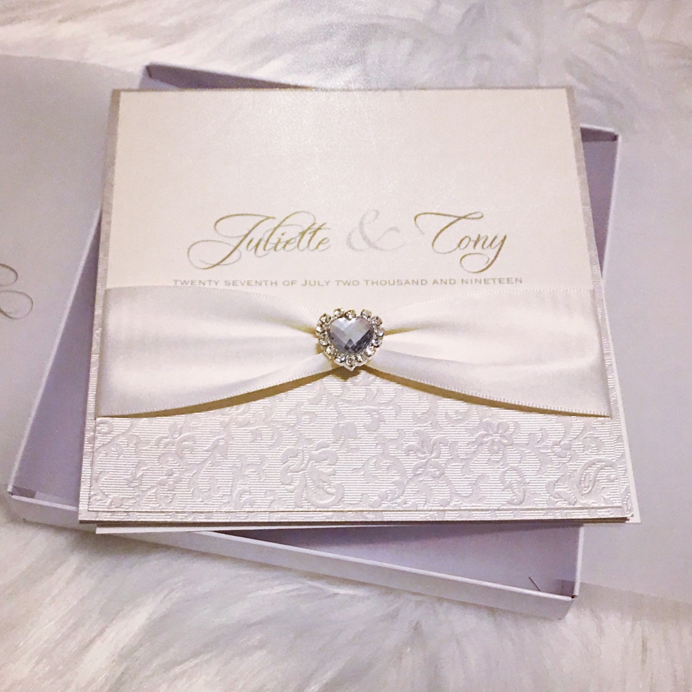 Boxed wedding invitation in ivory with crystal diamante heart
