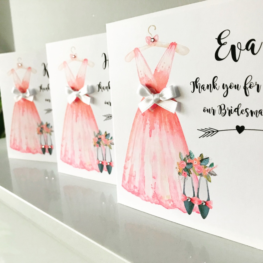 Thank you for being my Bridesmaid Maid of Honour handmade Card Personalised