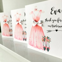 Thank you for being My Bridesmaid Personalised Card Pink Dress Design