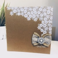 Rustic Style Guest Book with Vintage Brooch and Lace Bow