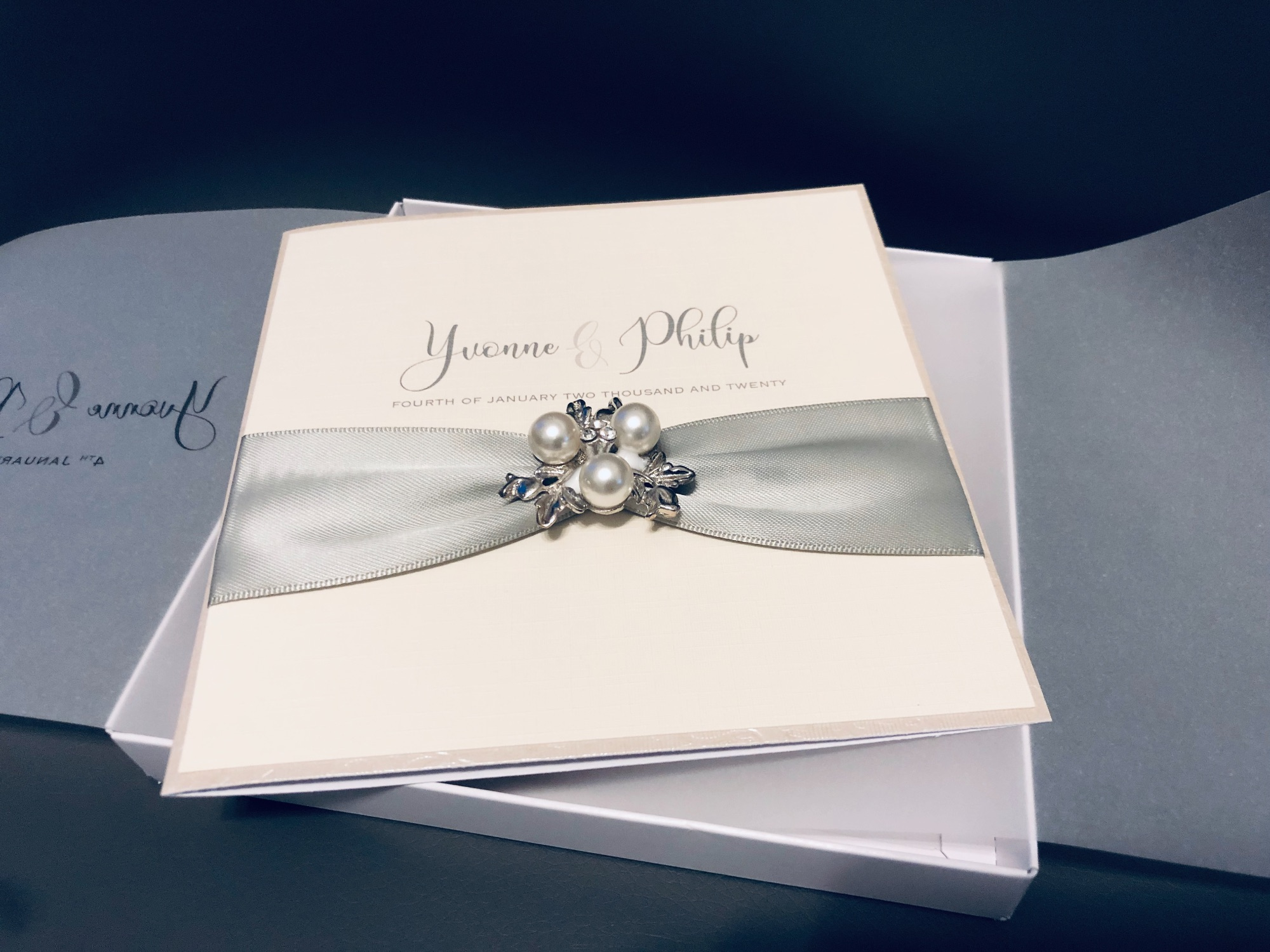 Silver and Ivory luxury wedding invitation