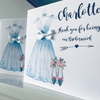 Thank you for being My Bridesmaid Personalised Card with Blue Dress