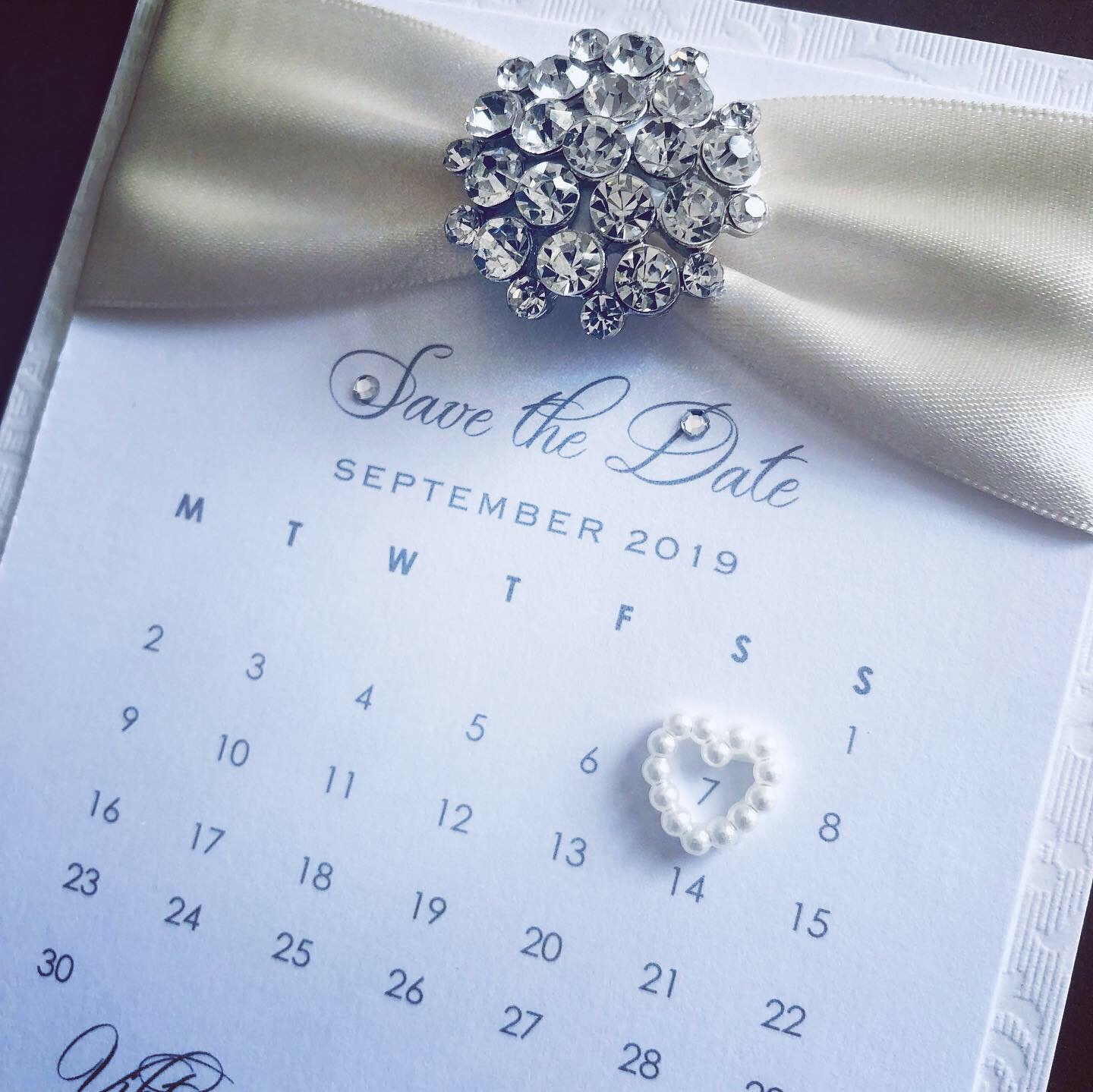 Diamante save the date wedding cards