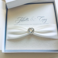 Diamante Hearts Luxury Wedding Invitation Sample