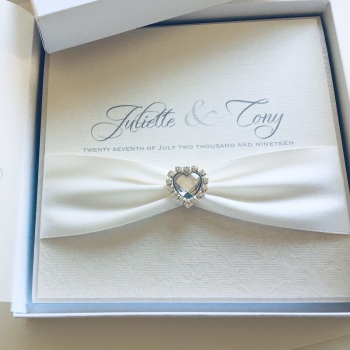 Diamante Hearts Luxury Wedding Invitation Sample