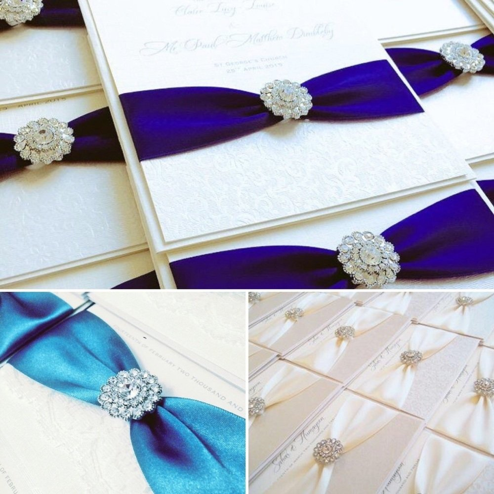 Luxury Romantic diamante wedding invitations with crystal brooch