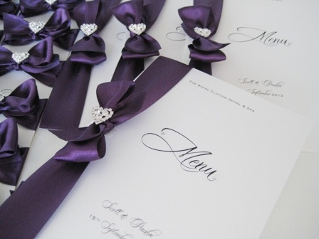 Plain wedding menu in ivory