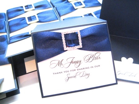 place name cards with diamante buckle and ribbon