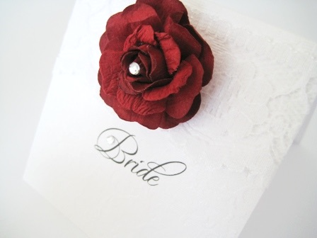 Lace and red rose place name setting