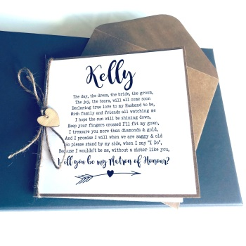 Sister Will you be my Maid or Matron of Honour Personalised Rustic Poem Card