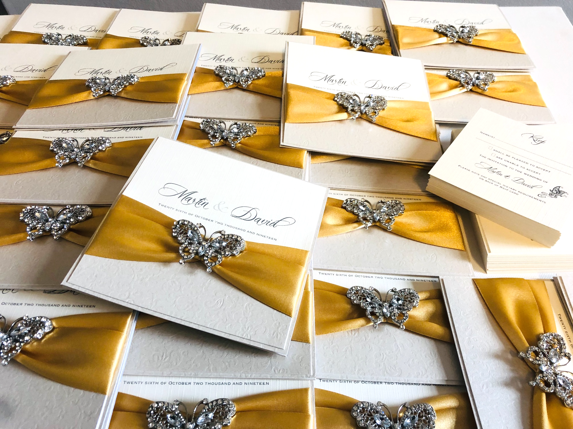 Butterfly Wedding invitations with gold ribbon