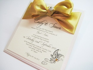 Butterfly wedding invitations with gold bow