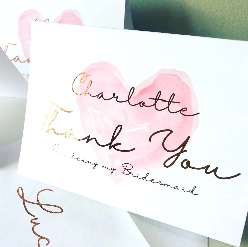 Rose Gold Foiled Thank you Bridesmaid Card