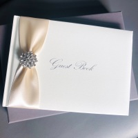 Personalised Wedding Guest Book with Diamante Brooch and Ribbon