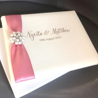 Personalised Genuine Leather Guest Book Ivory Colour with Luxury Brooch and Ribbon