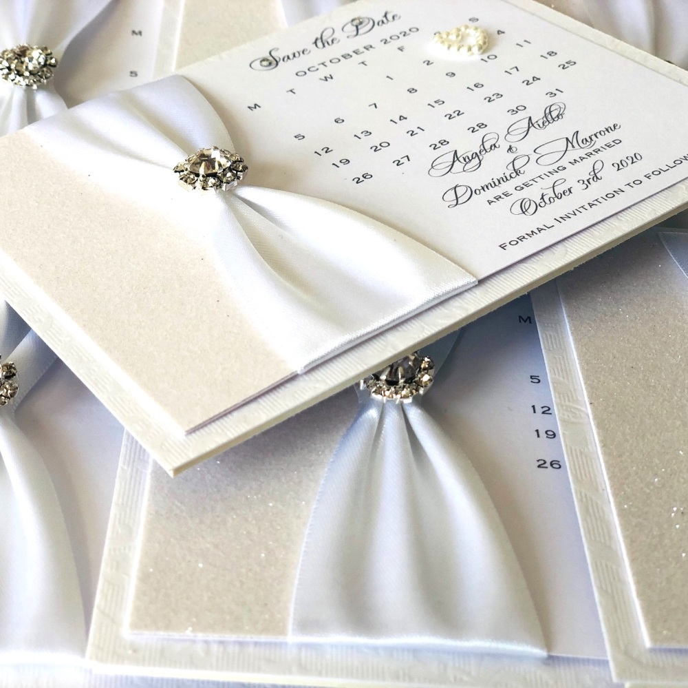 Save the Date Calendar Card with Crystal
