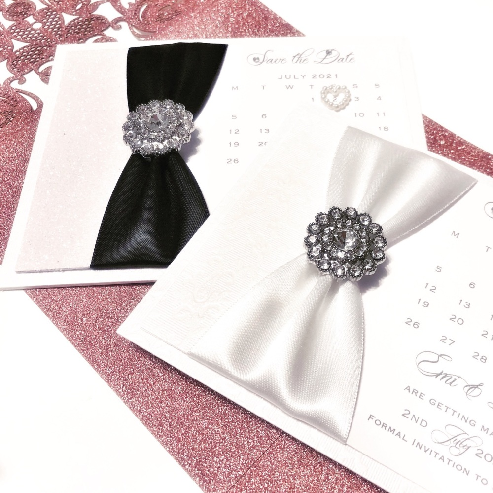 Vintage Crystal Save the Date Card Romance Collection