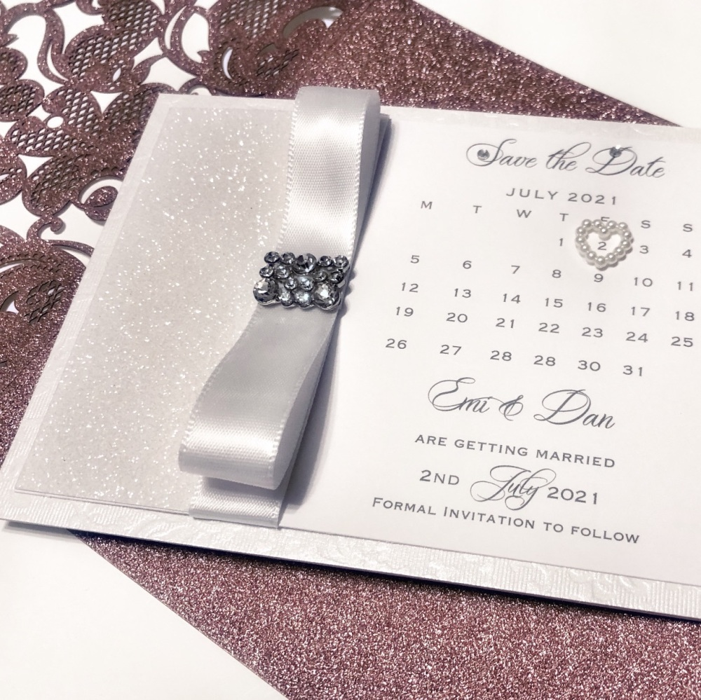 Save The Date Card with Crystal