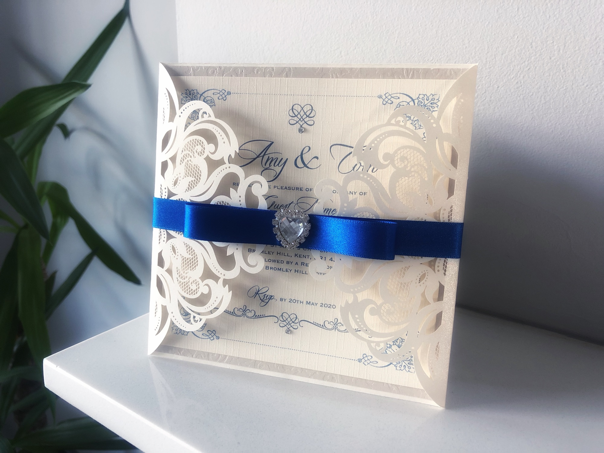 Boxed Laser Cut Wedding inviation with crystal heart