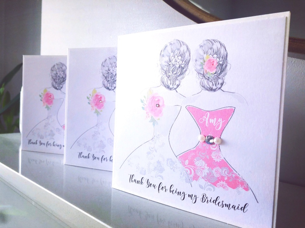 Modern keepsake cards for the ladies in the wedding party, custom made and personalised