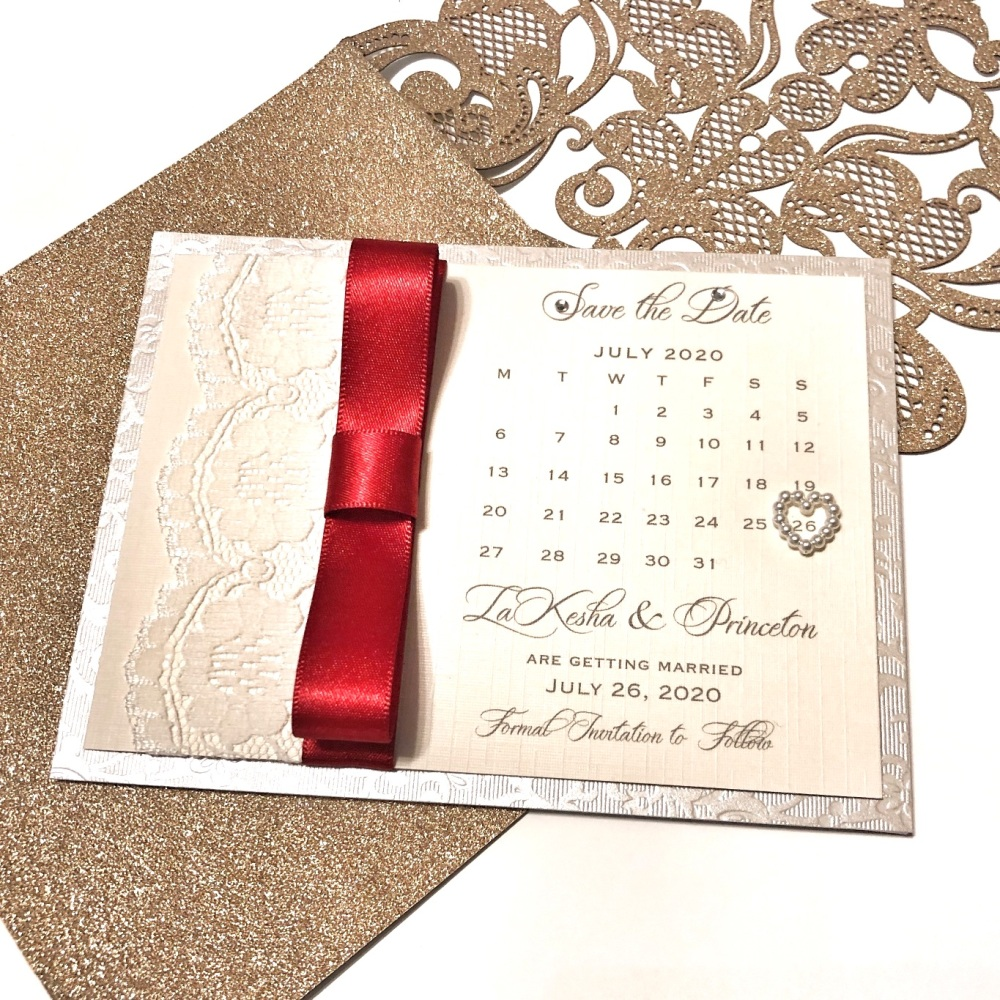 Save the Date Card with Plain Dior Ribbon and Lace