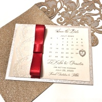 Save the Date Card with Dior Ribbon and Lace