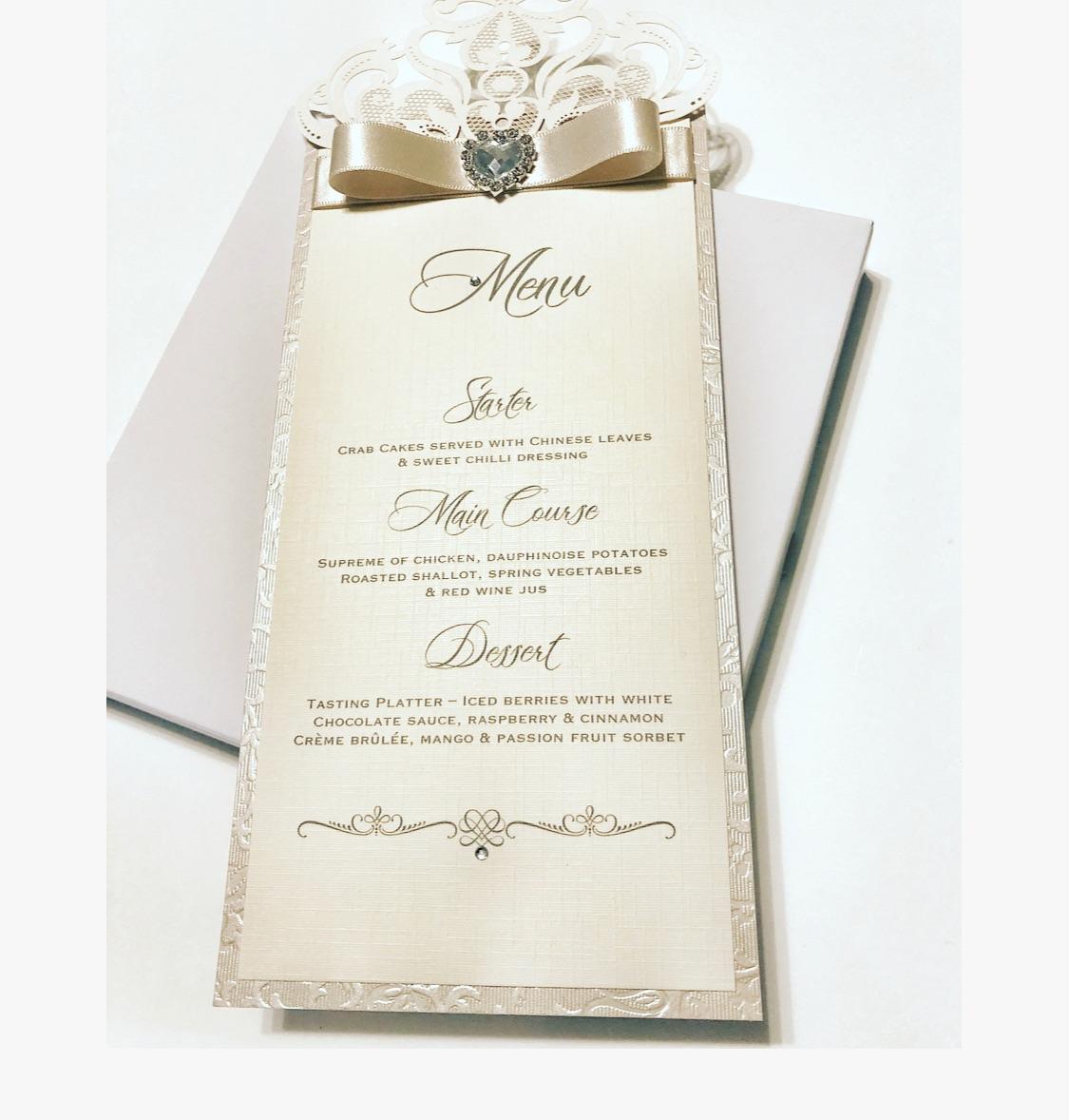 Laser cut wedding breakfast menu