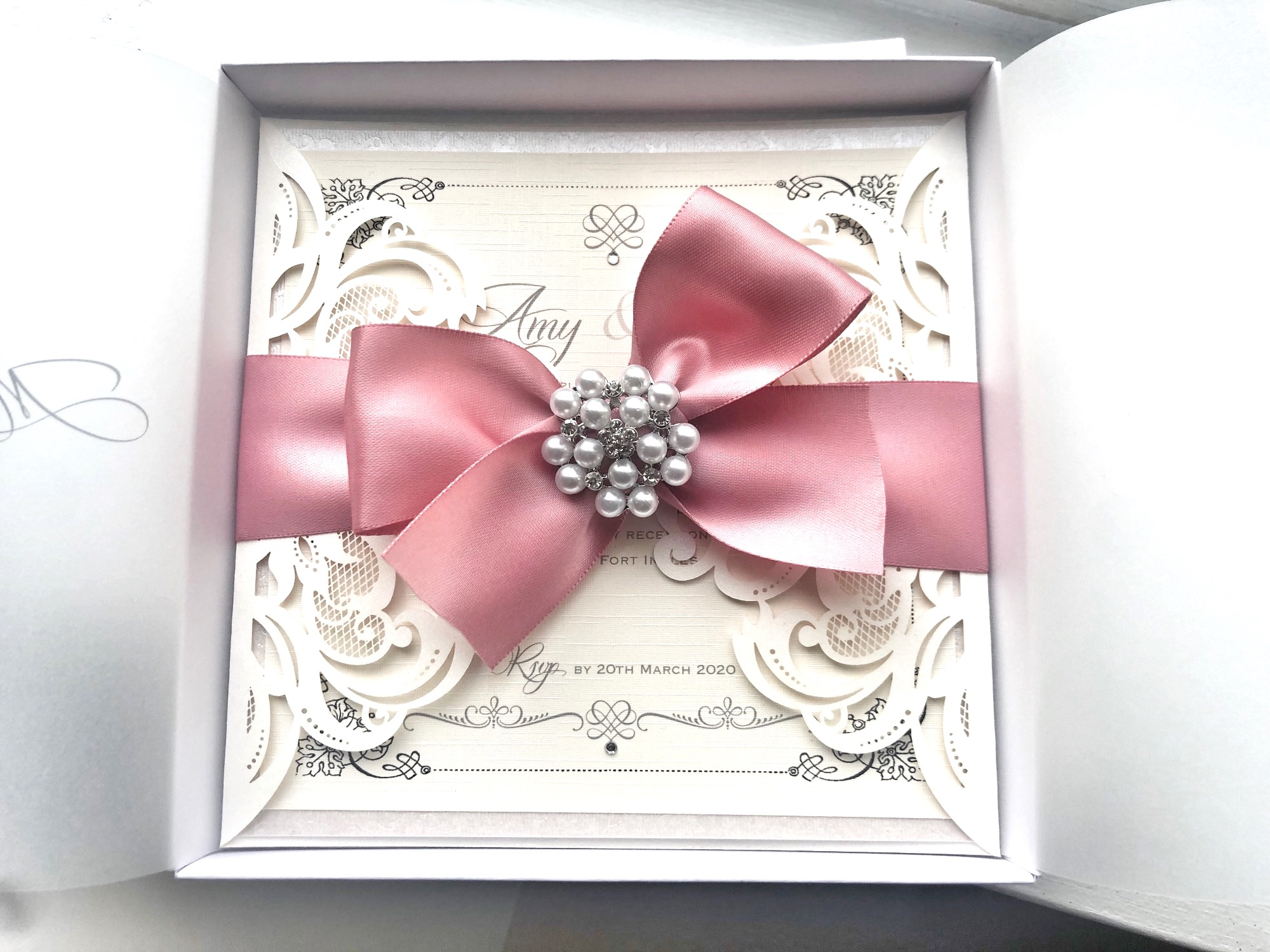 Lace and pearl invitation in box with beautiful bow