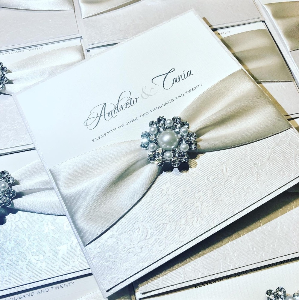 Ava Pearl Wedding Invitation Sample with Vintage Brooch and Ribbon