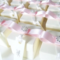 Wedding Favour Boxes with Pearl and Ribbon Pack of Ten