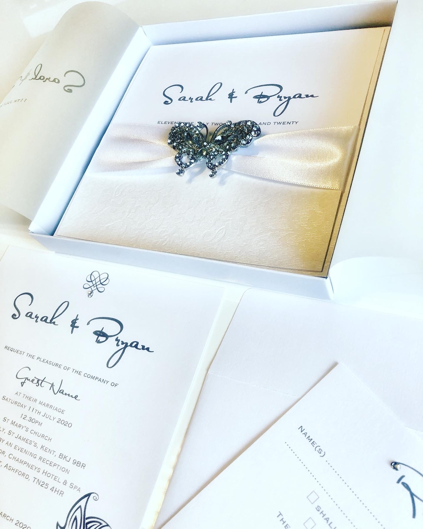 Butterfly crystal invitation in box