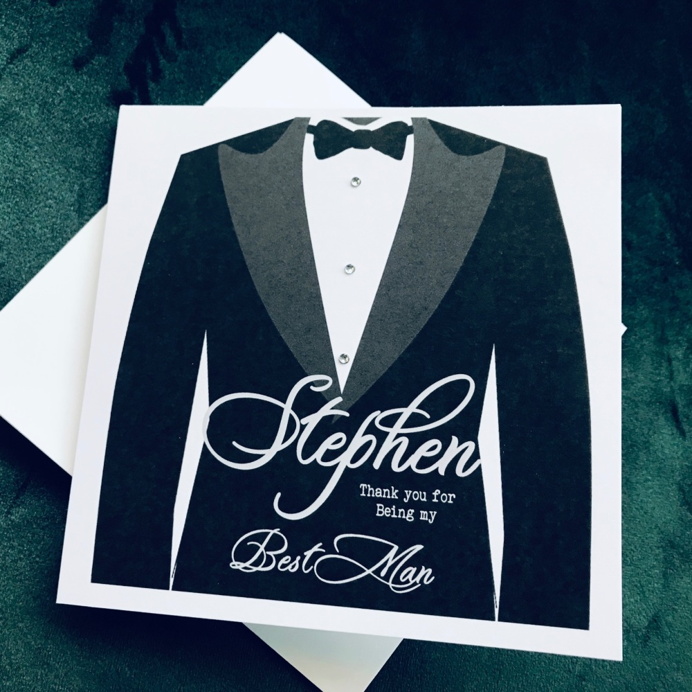 Groomsman Best Man Black Tie Thank you Card