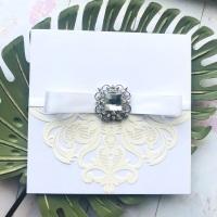 Crystal Vintage Wedding Invitation Sample