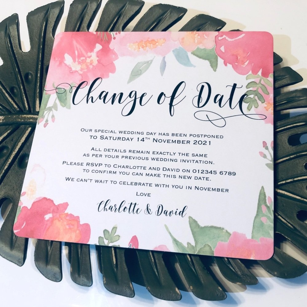 Wedding Change of Date Postponement Cards Pack of 10
