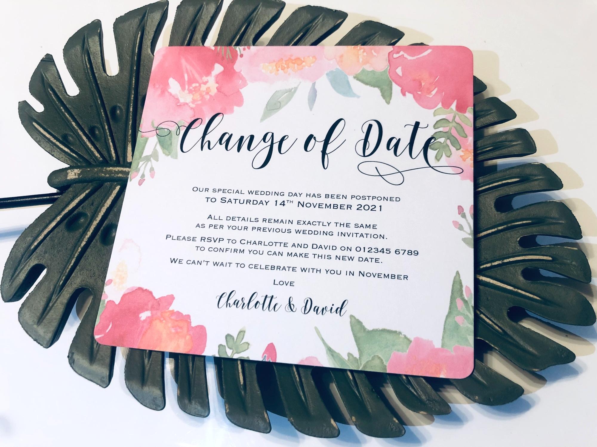 Change of date postponement cards