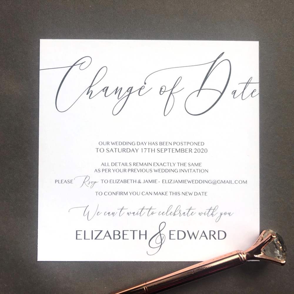 10 Script Change the Date Wedding Cards