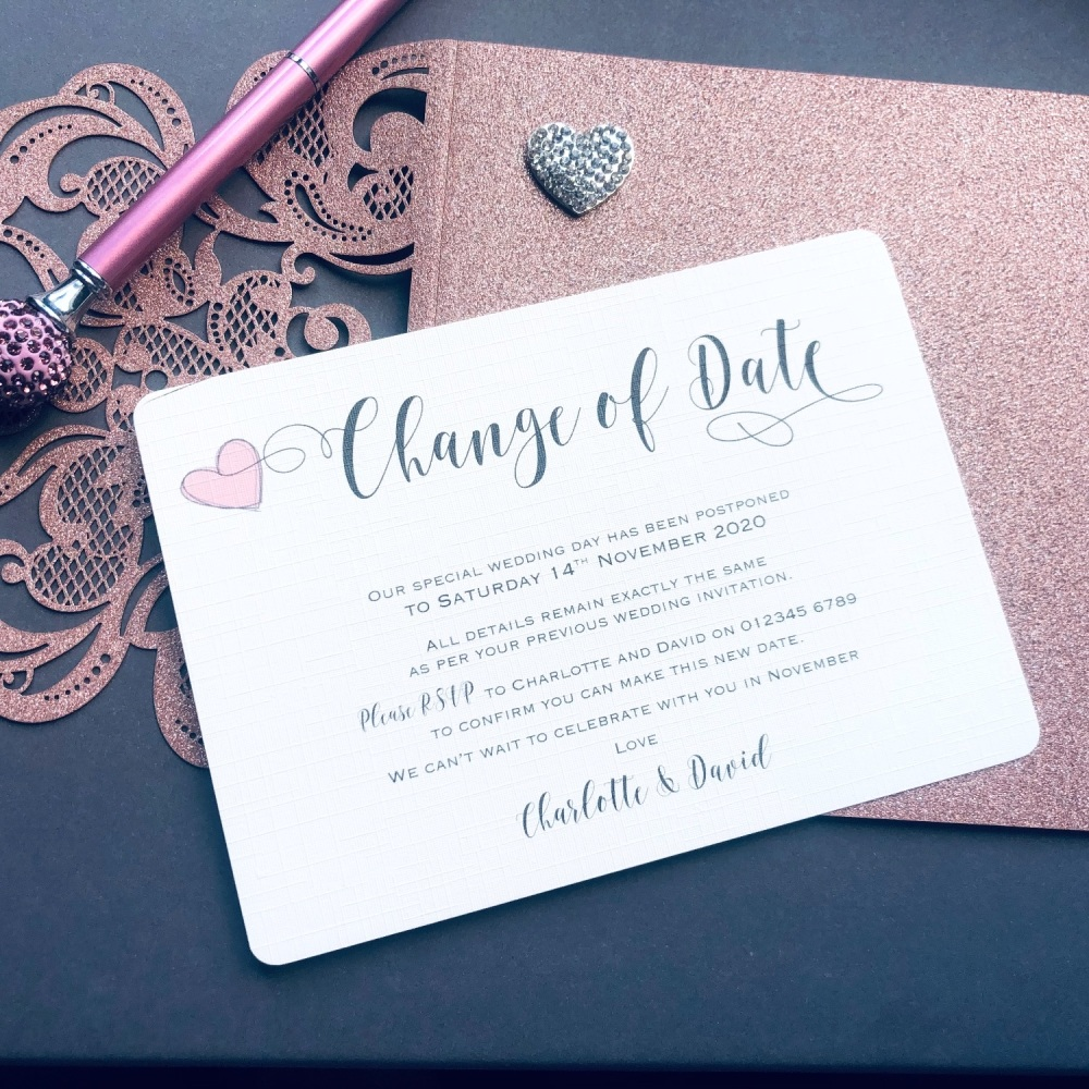 10 Change the Date Wedding Postponement Cards