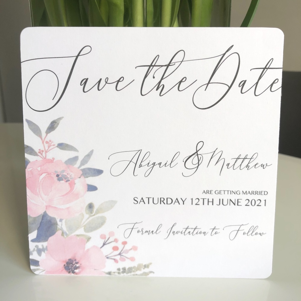 10 Blush Pink Floral Save The Date Cards