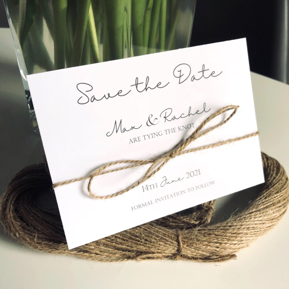 Rustic Save the Date Cards Pack of 10 Tying The Knot